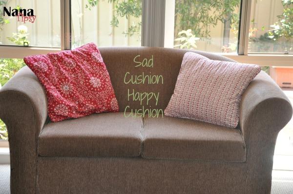 Sad cushion happy